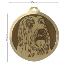 Medaille gravee Bearded Collie
